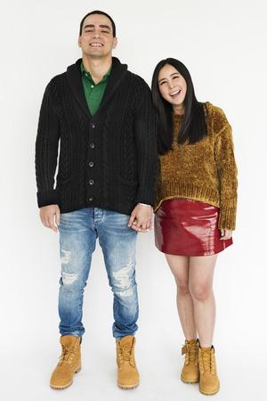 black sweater: Couple Men Women Hold Hands Concept