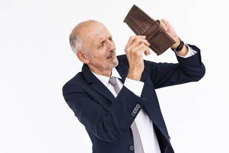 moneyless: Male Shows Empty Wallet Moneyless Concept