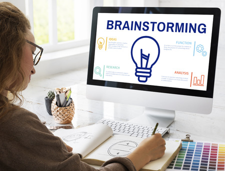 Brainstorming concept on computer screen Stock Photo