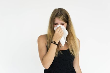 estornudo: Young Female Sneeze Napkin Concept Foto de archivo