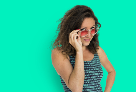 Portrait of woman with sunglasses 写真素材 - 111669536