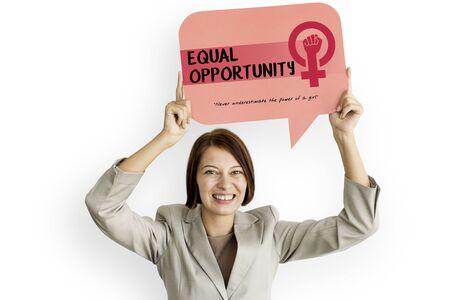 feminism: Women Girl Power Feminism Equal Opportunity Concept