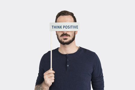 optimismo: Think Positive Optimism Word Concept Foto de archivo