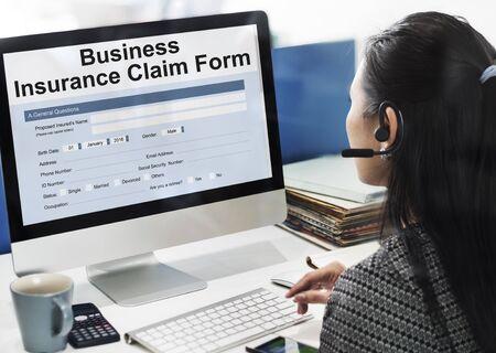 compensate: Business Insurance Claim Form Document Concept