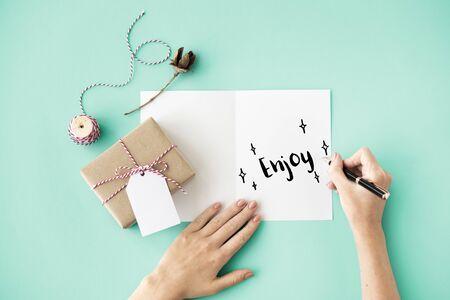 celebration: Celebration Card Writing Concept Stock Photo