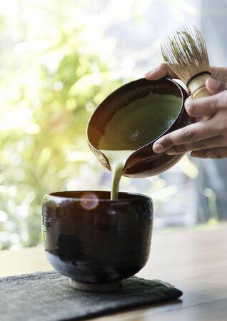 maccha: Tea Aromatic Drink Freshness Maccha Pouring Concept Stock Photo