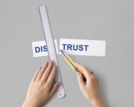 doubtfulness: Distrus Disbelief Hand Cut Word Split Concept