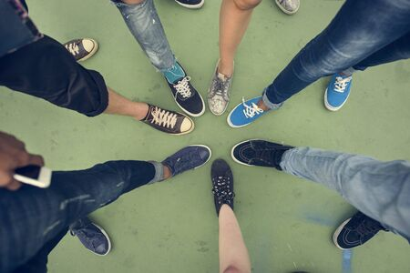 Human Leg Assemble Unite Togetherness Aerial View Concept