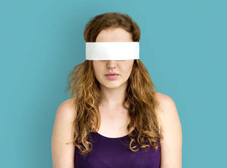 gesticulation: Woman Covering Eyes Blind Concept Stock Photo