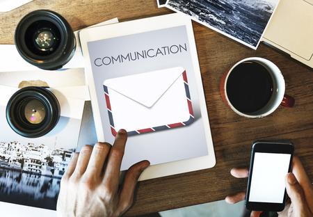 Communication concept on digital tablet