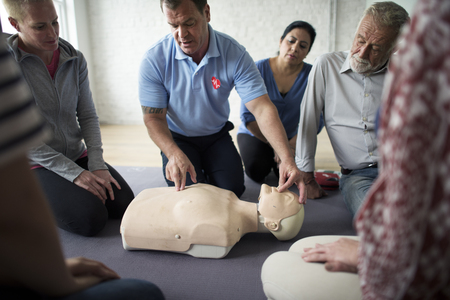 lifeline: CPR First Aid Training Concept Stock Photo