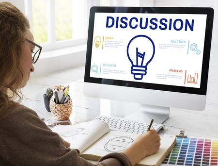 Discussion concept on computer screen Stock Photo