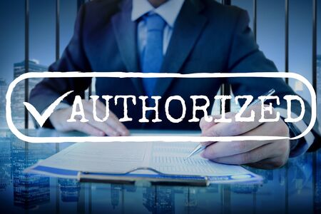 authorized: Approved Checked Accessible Authorized Security Concept Stock Photo