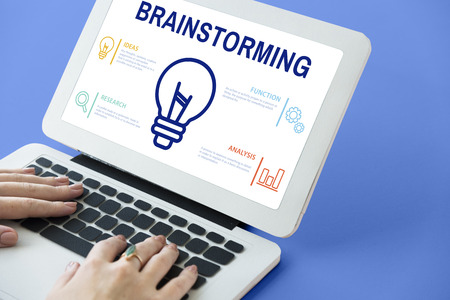Brainstorming concept on laptop screen Stock Photo