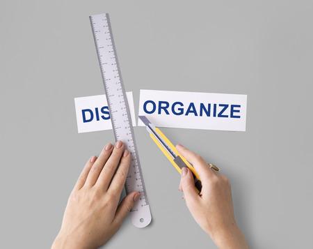 jumbled: Disorganize Hands Cut Word Split Concept