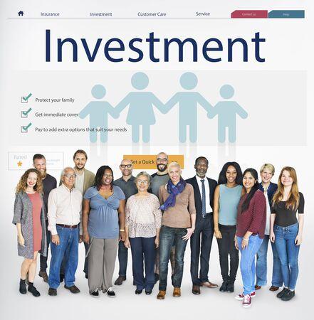 senior adults: Insurance Coverage Mix Reimbursement Protection Concept Stock Photo