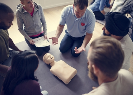 CPR First Aid Training Concept Stock Photo