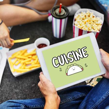 Cuisine concept on digital tablet Stock Photo