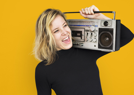 boombox: Female Holding Boombox Listen Music Concept