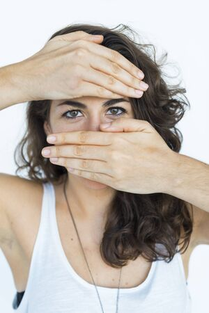 cover mouth: Woman Cover Mouth Forbidden RIghts Cocncept