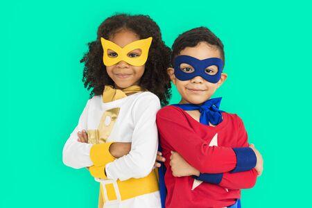 adolescencia: Superhero Adolescence Child Kid Expertise Concept Foto de archivo