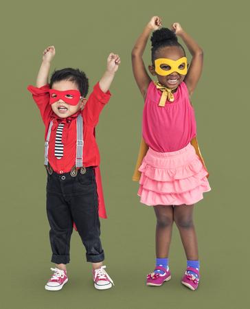 Children with mask and cape Reklamní fotografie
