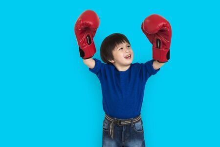 Little Boy Kid Adorable Cute Boxing Portrait Concept