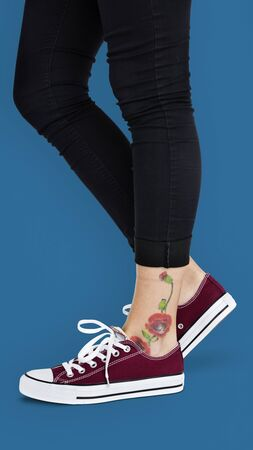 trouser legs: Ankle Flowers Tattoo Women Concept