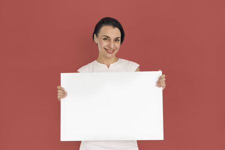 a placard: Adult Female Holding Placard Blank Concept