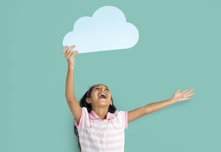 Asian Girl Child Cloud Computing Concept