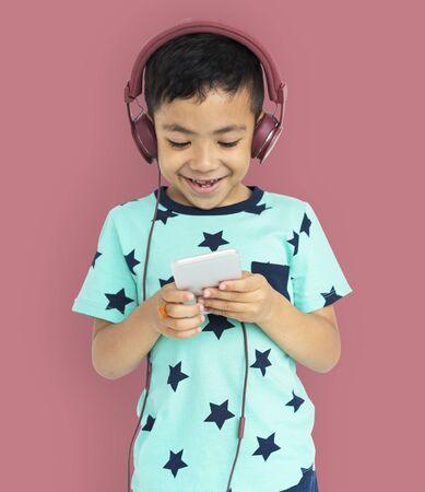 Boy Headphone Son Kid Enjoy Concept Stock Photo