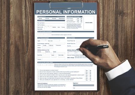 Información Personal Appilcation Identidad Concepto privada Foto de archivo
