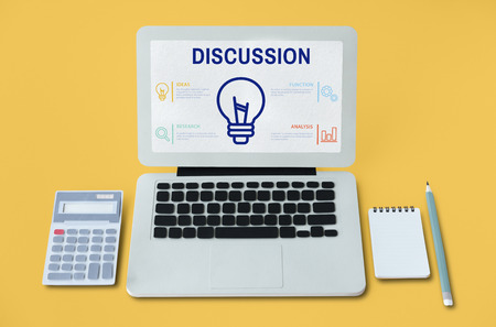 Discussion concept on laptop screen