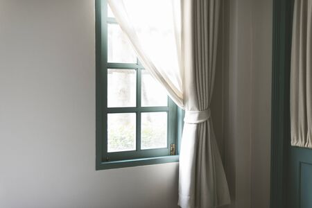 white curtain: Simple window with white curtain