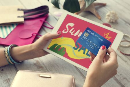 warm things: Summer Sale Shopping Discount Concept Stock Photo