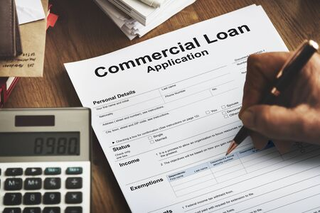 loaning: Commercial Loan Application Banking Shopping Concept