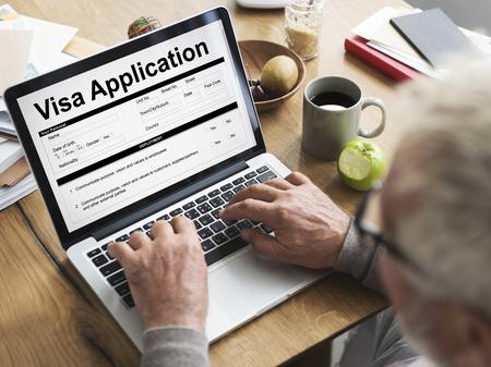 Visa application form concept on laptop screen
