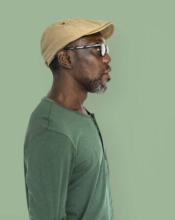 senior african: Retro Old-Fashion Casual Senior African Man Concept