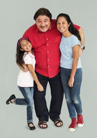 Asian Family Hugging Studio Concept