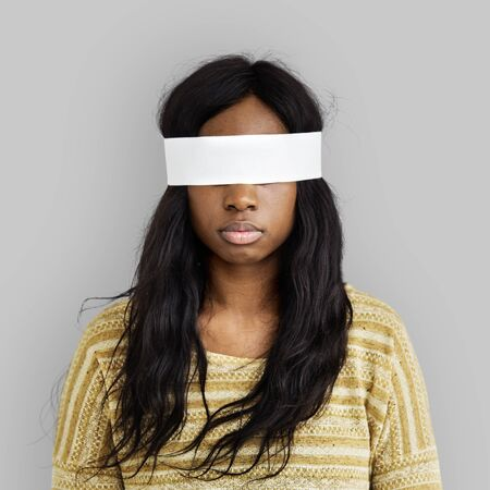 mislead: Woman Eye Covered Blind Forbidden Lost Concept