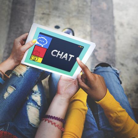 Chat concept on digital tablet