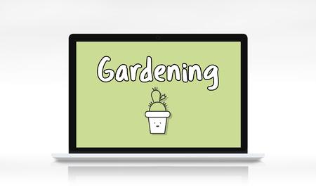 Gardening concept on laptop screen