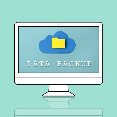Data backup concept on computer screen Stock Photo