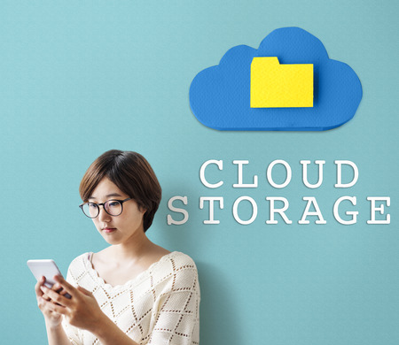 Cloud storage with woman at side