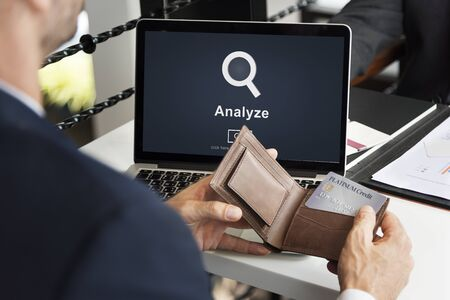 analyze: Analyze Research Work Strategy Concept Stock Photo