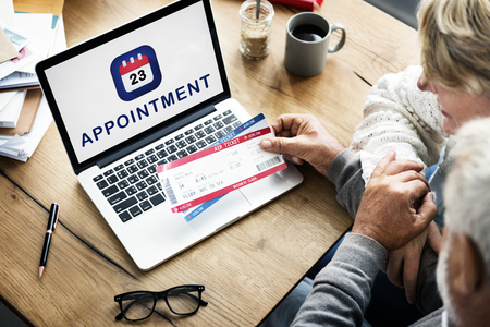 Appointment concept on laptop screen Stok Fotoğraf