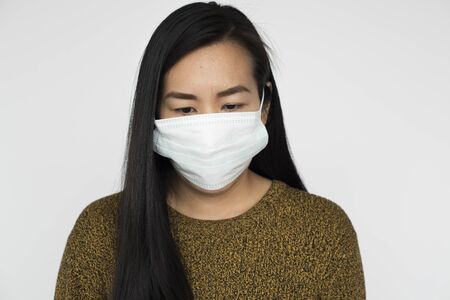 protective mask: Woman Sickness Protective Mask Fever Concept
