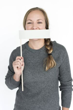 cover mouth: Woman Cover Mouth Portrait Concept Stock Photo