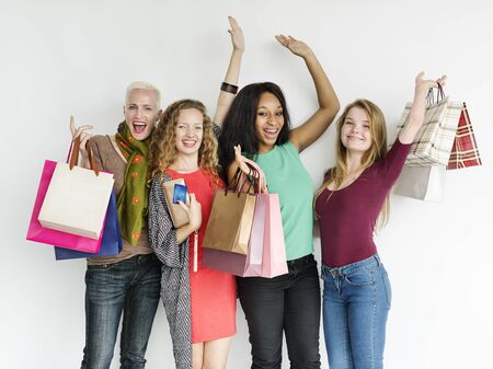 spending: Women Shopping Spending Consumerism Shopaholic Concept