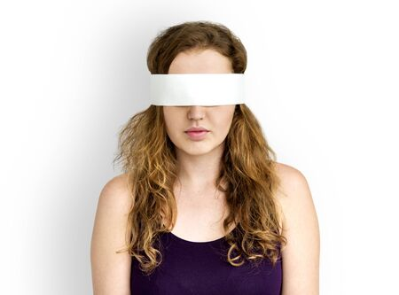 persuade: Woman Eye Covered Blind Forbidden Lost Concept